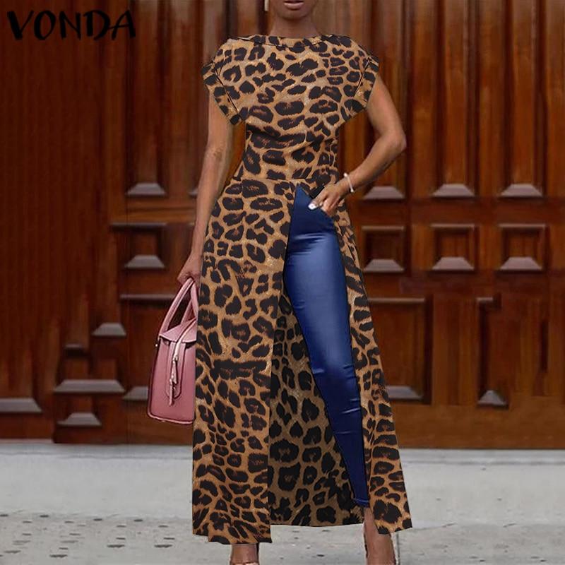 Elegante Leopard Bluse Frauen Tunika Vonda 2021 Weibliche Tops Vintage Lange Shirts Büro Urlaub Split Party Tops Plus Größe Blusa Bluse Aliexpress