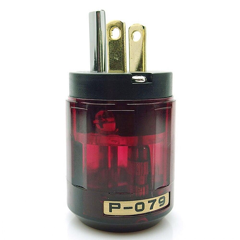 HIFI un par de oyaide chapado en oro c-079 IEC hembra p-079 macho enchufe de alimentación americana conector de audio hifi DIY Mathur audio