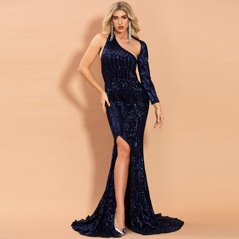 Gorgeous Trumpet One-Shoulder Long Sleeves Sweep Train Black Sequin Backless Royal Blue Mermaid Formal Evening Dresses Gown