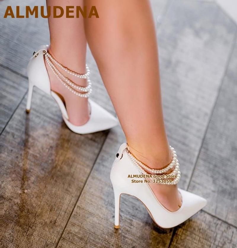 ALMUDENA-حذاء زفاف نسائي أنيق ، مزين باللؤلؤ ، كعب خنجر ، مقدمة مدببة ، مجوهرات فاخرة ، أحذية حفلات ، مقاس 47