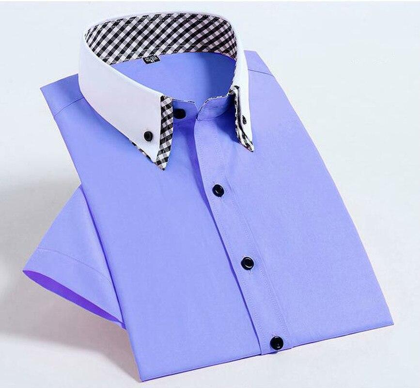 Camisa xadrez roxo clássica, camisa masculina, de manga curta, sarja formal, social, para homens de negócios