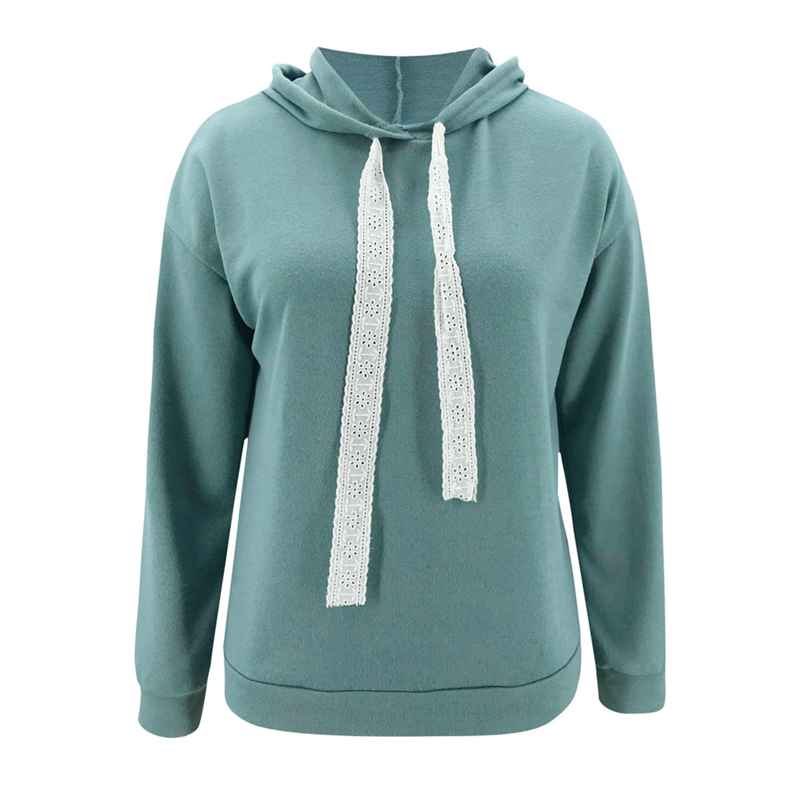 Women Casual Loose Hoodies, Long Sleeve Winter Warm Solid Color Sweatshirts with Lace Drawstrings