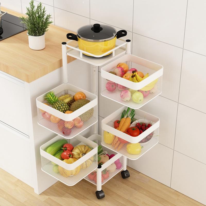المطبخ الدائر الخضار تخزين الرف متعدد الطبقات سلة فاكهة المياه المطبخ البنود توفير مساحة حامل المطبخ