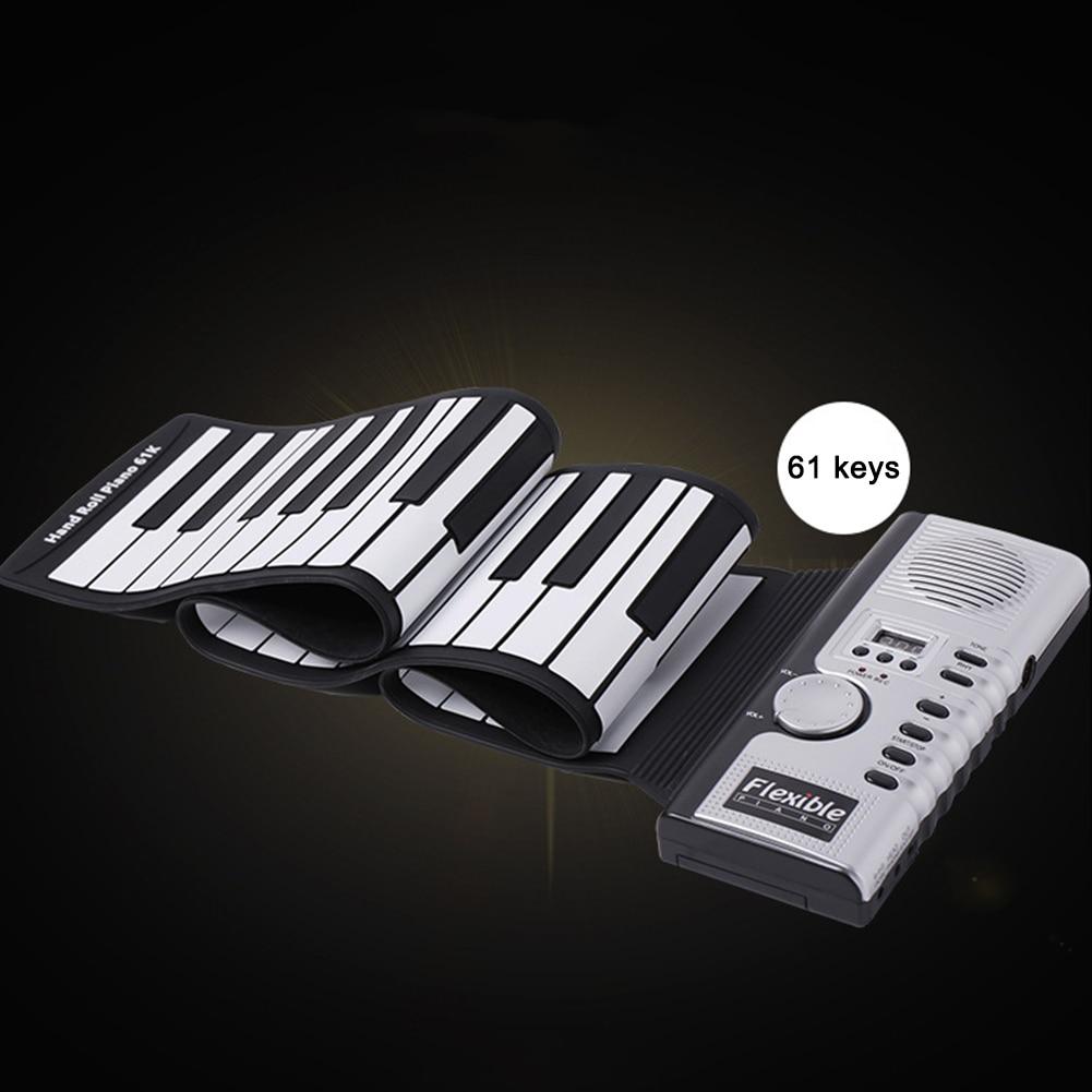 61key ABS teclado plegable portátil Digital enrolladas para Piano para Práctica de Aprendizaje para principiantes