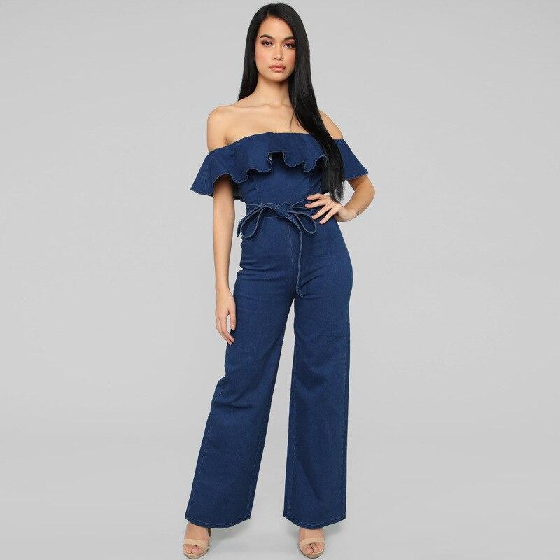 Pantalones con borde colmena para mujer, Vaqueros ajustados lavados en la cadera de una pieza, Popular en Europa, azul, con cinturón, ropa general para mujer