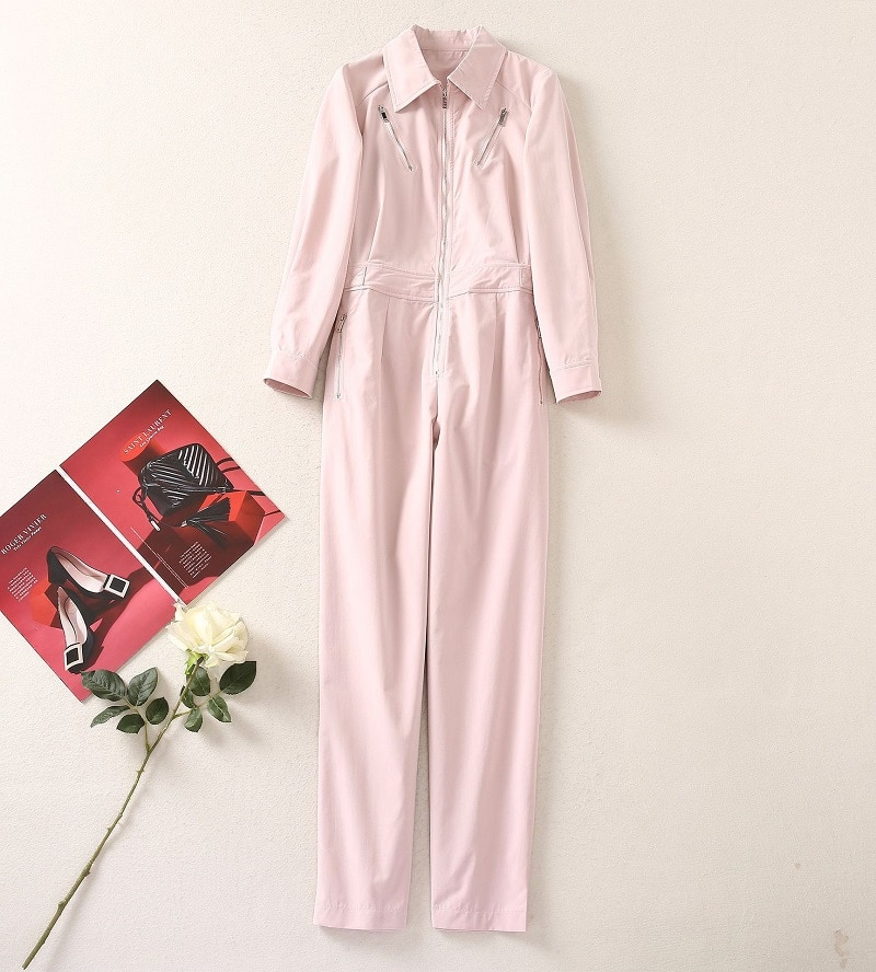 2021 Autumn Fashion Jumpsuits & Rompers High Quality Women Turn-down Collar Zipper Deco Long Sleeve Casual Long Pink Jumpsuits