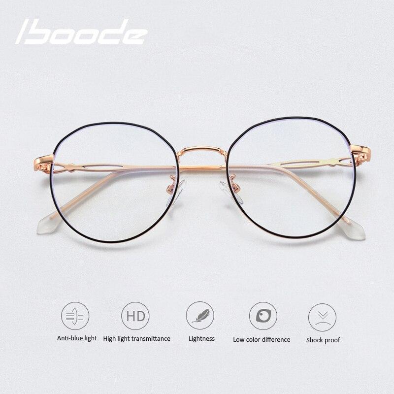 Iboode, montura de Gafas de Metal polígono Anti azul claro con bloqueo, gafas para juegos de ordenador para hombres y mujeres, montura de gafas ópticas