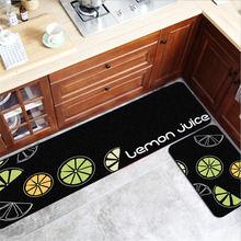 Tapis de cuisine nordique fond noir vert citron motif tapis de cuisine décorations de noël pour maison porte tapis entrée