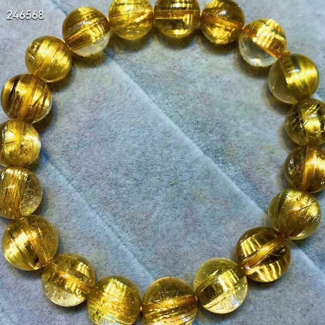 Natural Gold Rutilated Quartz Crystal Bracelet Woman Men 10.8mm Cat Eye Clear Round Beads Jewelry Brazil Genuine AAAAA