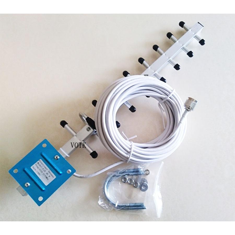 Antenne extérieure Yagi 13dbi 2100 1800MHZ avec câble 10M 50ohm pour répéteur de Signal mobile 4G LTE 3G WCDMA