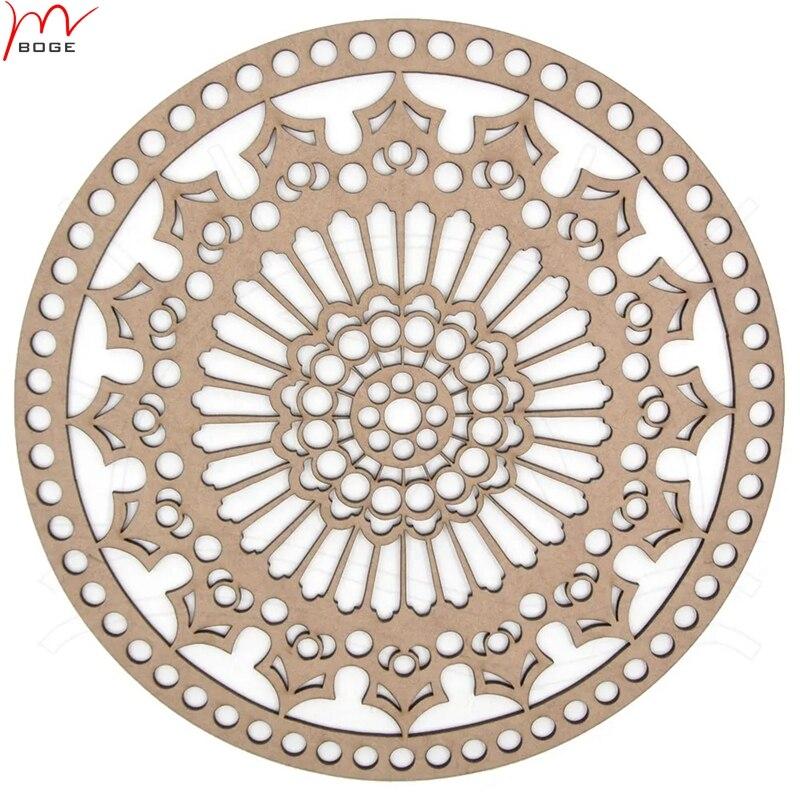 3 piezas 25cm sin terminar de encaje blanco redondo de ganchillo personalizado cestas bolsas base de madera cestas de ganchillo parte inferior