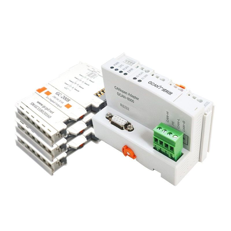GCAN-IO CANopen/Modbus TCP/RTU Remote IO Module/Adapter CAN Bus/RS232/RS485 I/O Coupler Industrial Control Panel with PLC
