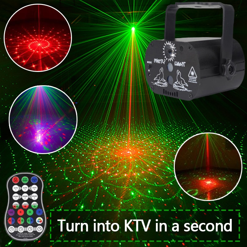 Disco LED Light 60 Patterns RGB Laser Projection Lamp Wireless Controller Effect Stage Lights Home Decotrative Party DJ KTV Ball