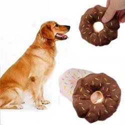 Donut de algodão brinquedos do cão 13 cm guinchando adorável brinquedos do cão de estimação filhote de cachorro gato mastigar brinquedo donut jogar brinquedo do cão de pelúcia produto do animal de estimação