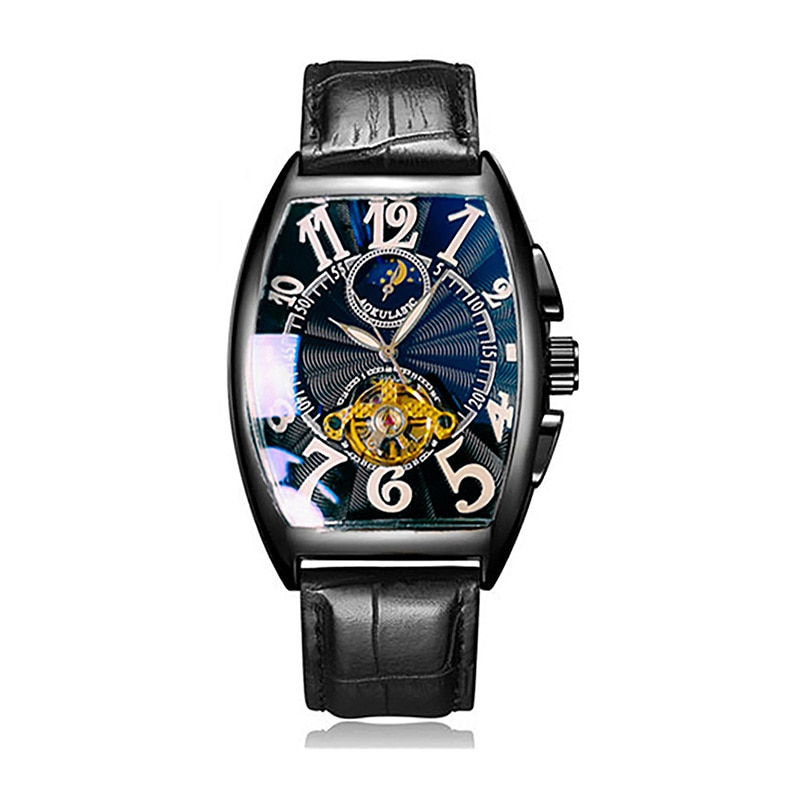 Mechanical Watch Men's Watches Luminous Moon and Stars Mens Watches Barrel-shaped Watches Men's Waterproof Leather Automatic enlarge