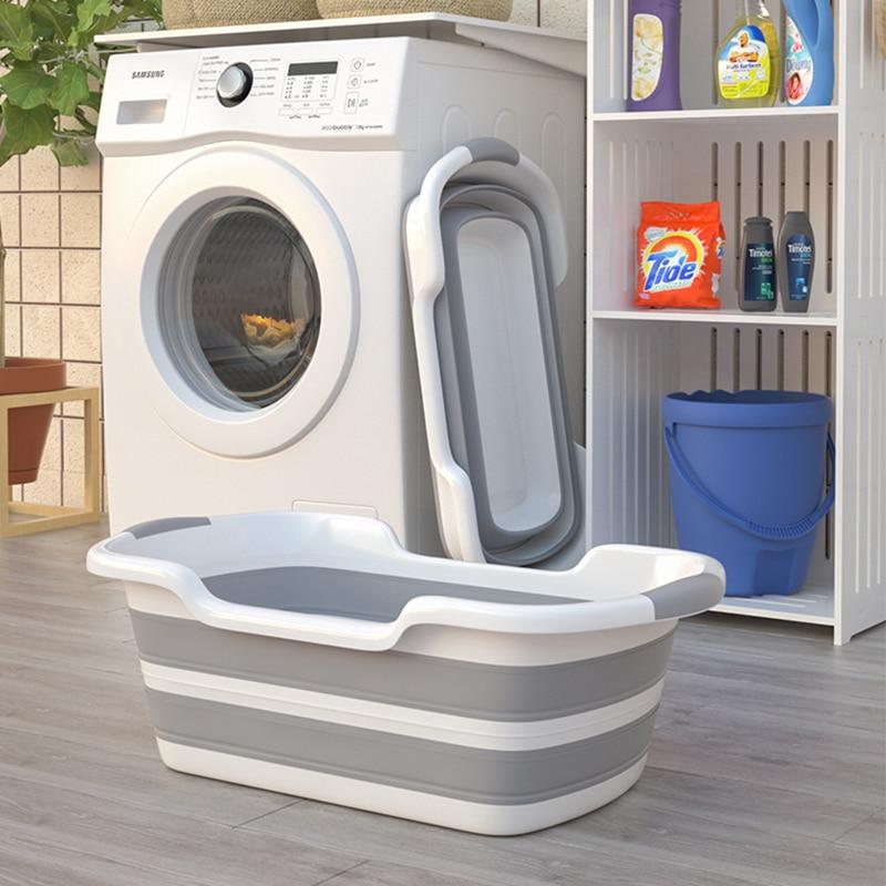 Silicone Collapsible Baby Pet Cat And Dog Special Bath Tub Portable Bathtub Bathroom Laundry Basket Non-Slip Foot Bath Barrel enlarge