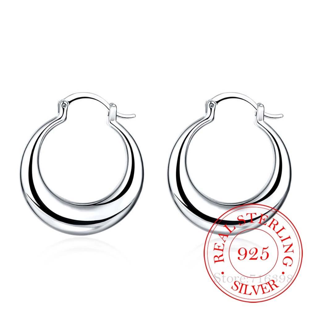 AliExpress - Personality Hyperbole 100% 925 Sterling Silver Simple Smooth Moon Big Hoop Earrings For Women Sterling-Silver-Jewelry Pendientes