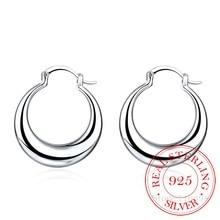Hyperbole – boucles doreilles en argent Sterling 100% pour femmes, bijoux en forme de lune lisse, Simple, grand cercle, 925