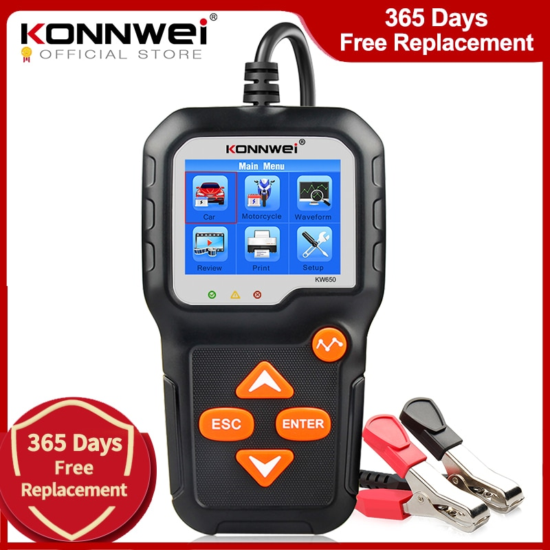 KONNWEI KW650 Car Motorcycle Battery Tester 12V 6V  Battery System Analyzer 2000CCA Charging Cranking Test Tools for the Car