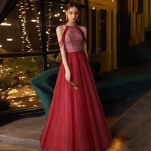 Evening Dress Halter Empire Sleeveless A-Line Floor-Length Tassel Burgundy Tulle Simple Luxurious Wo