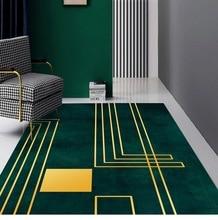 modern Nordic carpet  dark green gold geometric large rugs lines living room bedroom soft carpet parlor hallway home floor mat