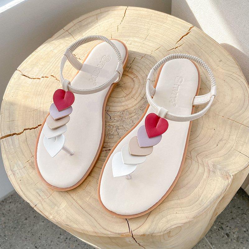 2021 Summer One-Word Buckle Belt PU Low Heel Flat Sandals Outdoor Fashion Flip Flops Square Heel Slippers Size 35-40 Wholesale