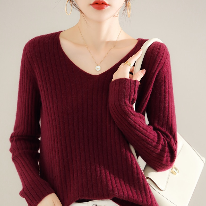 adohon 2021 woman winter 100% Cashmere sweaters knitted Pullovers jumper Warm Female V-neck blouse blue long sleeve clothing enlarge