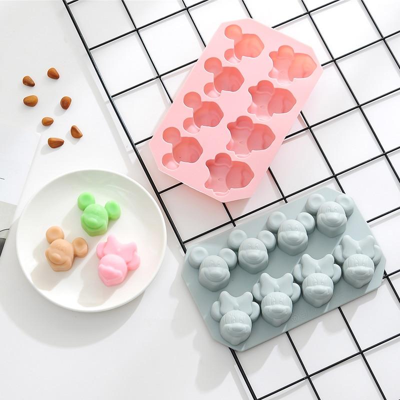 Molde de silicona para hielo DIY con forma de Mickey de 8 rejillas, Cubo de caramelo bombón pastel, galleta, hornear, molde para pasteles, Fondant, herramienta de decoración de pasteles