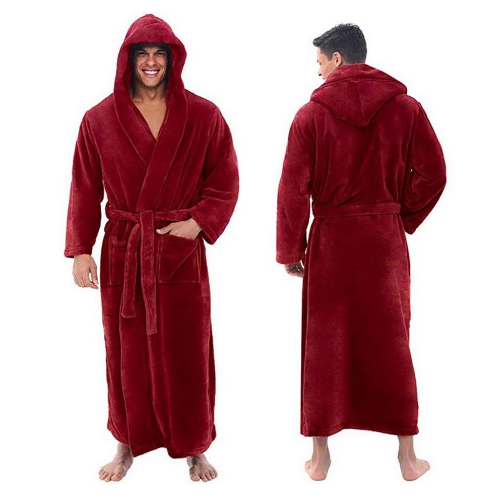 Winter Bathrobe Men Flannel Hooded Thick Casual Winter Autumn Long Kimono Robe Warm Home Sleepwear Bath Robe Pajama Nightgown