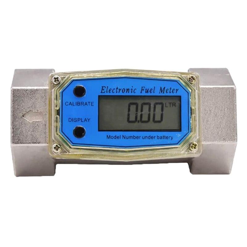مقياس تدفق إلكتروني رقمي لتوربينات المياه السائلة, مقياس تدفق زيت الوقود 1.5 بوصة 10-100gpm 38-380L/Min
