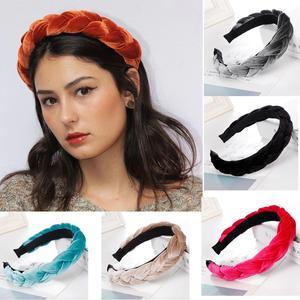 Fashion Bezel Twist Velvet Braid Headband Women Solid Color Thicken Hairband Girls Korean Knotted Hair Accessories Hair Band