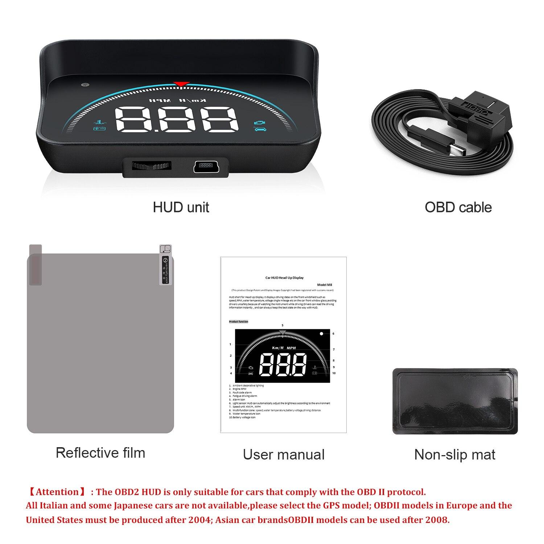 Купить с кэшбэком GEYIREN M8 Car HUD Head Up Display OBD2 II EUOBD Overspeed Warning System Projector Windshield Auto Electronic Voltage Alarm