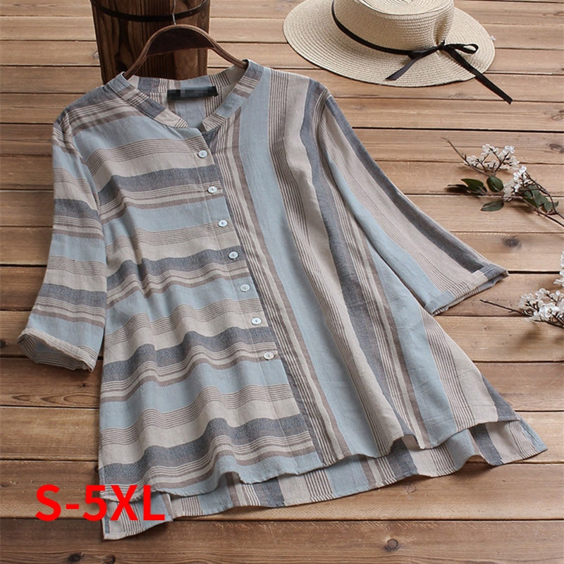 Plus Size S-5XL Summer Cotton Linen Women Blouses Casual Half Sleeve Striped Print Tops Clothing Loose Blouse