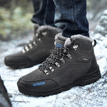 Man's Winter Hiking Sneakers Outdoor Non Slip High Top Sports Shoes Lace Up Camping Booties Man Wate
