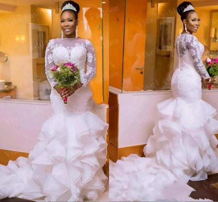 Свадебные платья Русалочки с оборками, с длинным рукавом, с коротким шлейфом, с аппликацией в виде садовой часовни, африканские свадебные платья, vestidos de novia, большие размеры