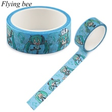 Flyingbee 15mmX5m Paper Washi Tape Anime Girl Adhesive Tape DIY Scrapbooking Sticker Label Masking Tape X0895