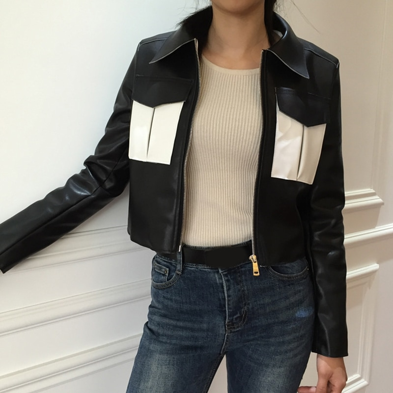2020 Casual Full Special Offer Promotion Pockets Jaqueta De Couro Feminino Woman Leather Jacket Pocket Stitching Zipper Pu enlarge