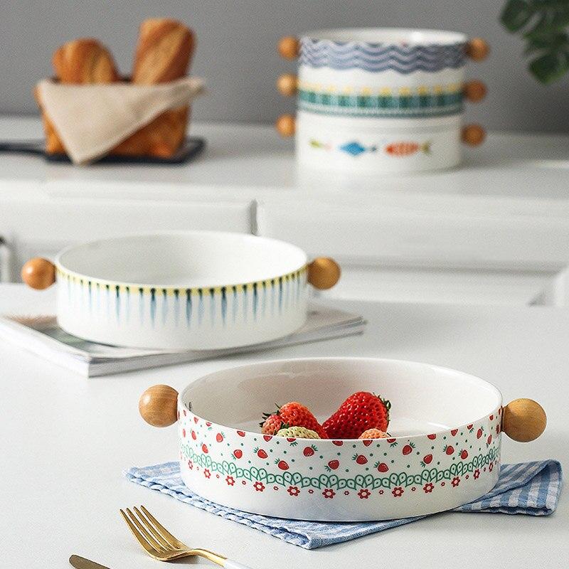 Bandeja de cerámica con asa para hornear, cuenco Binaural con mango de madera, plato italiano para fruta, queso, plato de pescado, vajilla para niños, platos para ensaladas