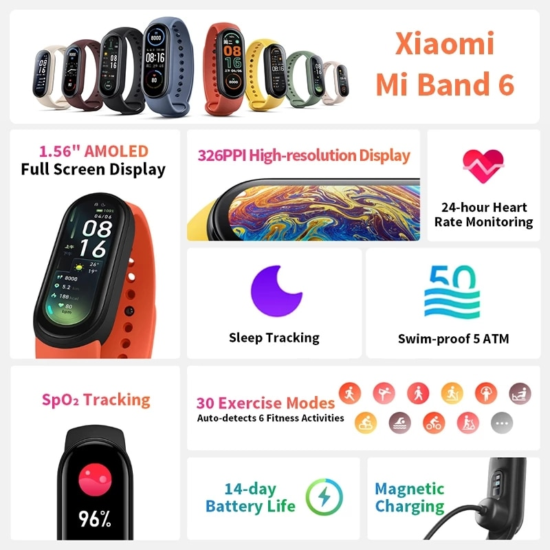Global Version Xiaomi Mi Band 6 Blood Oxygen Fitness Traker Heart Rate Monitor 1.56