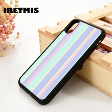 Iretmis 5 5S se 6 6 s macio tpu silicone borracha caso do telefone capa para iphone 7 8 plus x xs 11 pro max xr listras pastel