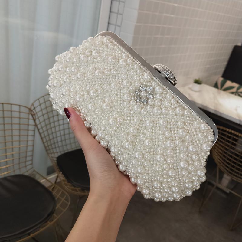 SEKUSA Beading women evening bags shell design small day clutch wedding bridal party chain shoulder handbags pearl purse bag