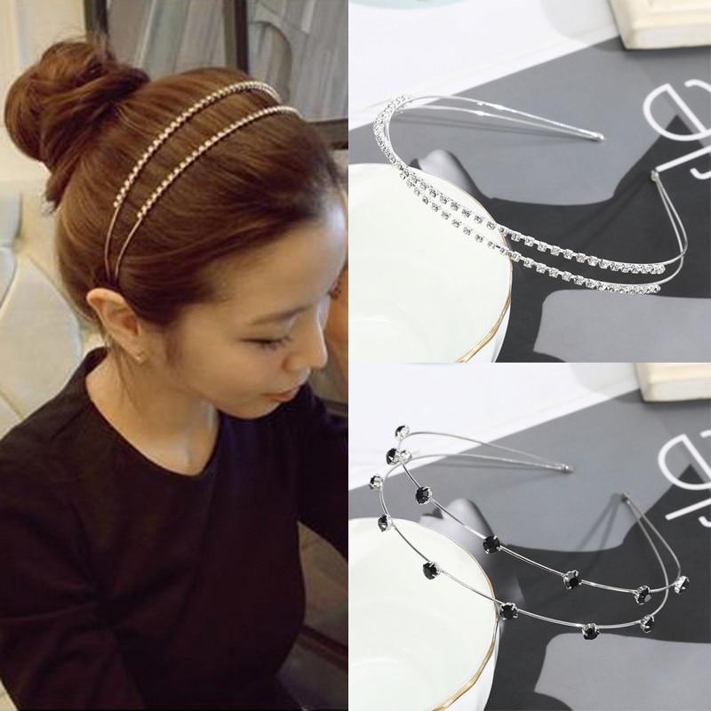 Women girls Hair band hoops Simple alloy Headband Scrunchies Hairbands ropes Headdress Pearl Hair Accessories for women girls simple semicycle alloy decorated hair band for women