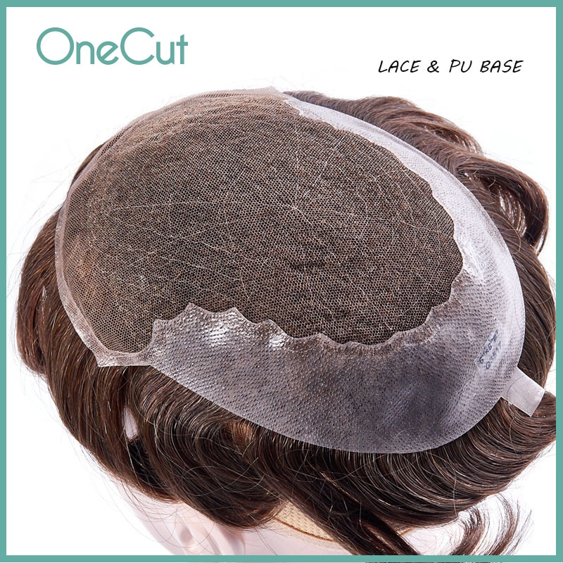 Men Toupee Lace PU Base Human Hair Replacement System Unit Durable Wigs Breathable Hairpiece Q6 Male Capillary Prothesis Peruk