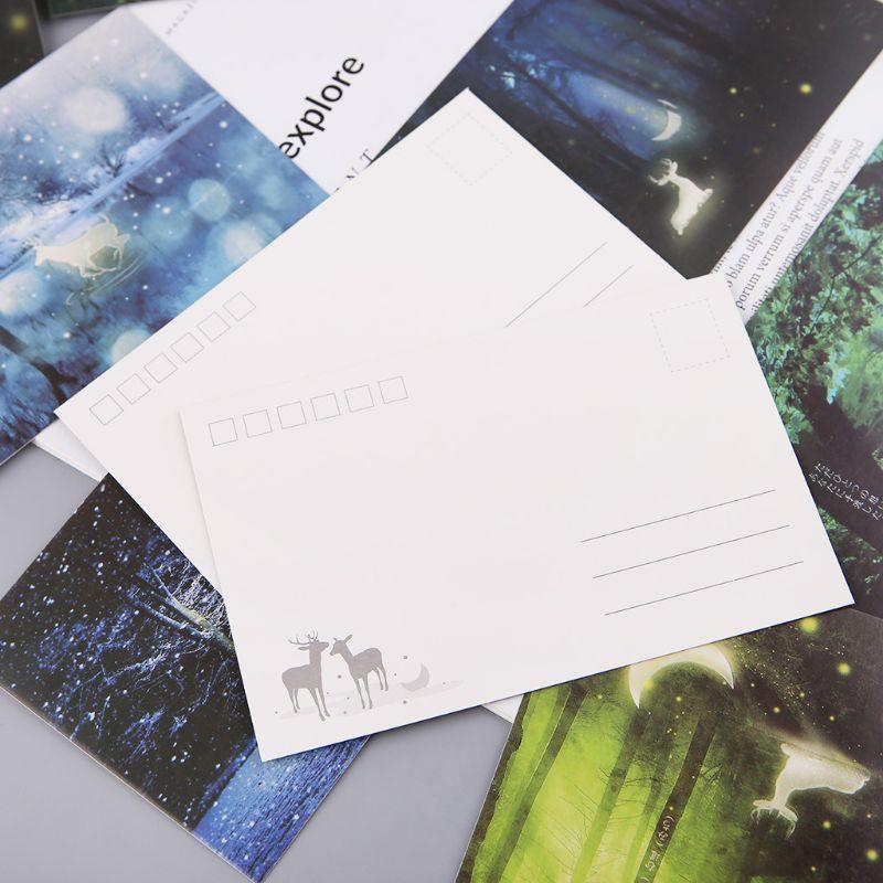 30 шт. Винтаж световой Почтовые открытки светится в темноте лес стример животных поздравительная открытка Новинка рождественские открытки ...