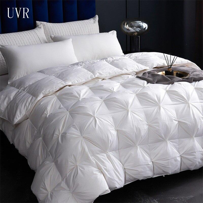 لحاف مخملي من القطن 100% من UVR لفندق خمس نجوم فاخر فاخر بأوز أبيض/لحاف للأسفل/لحاف سرير كينج مزدوج 220*240
