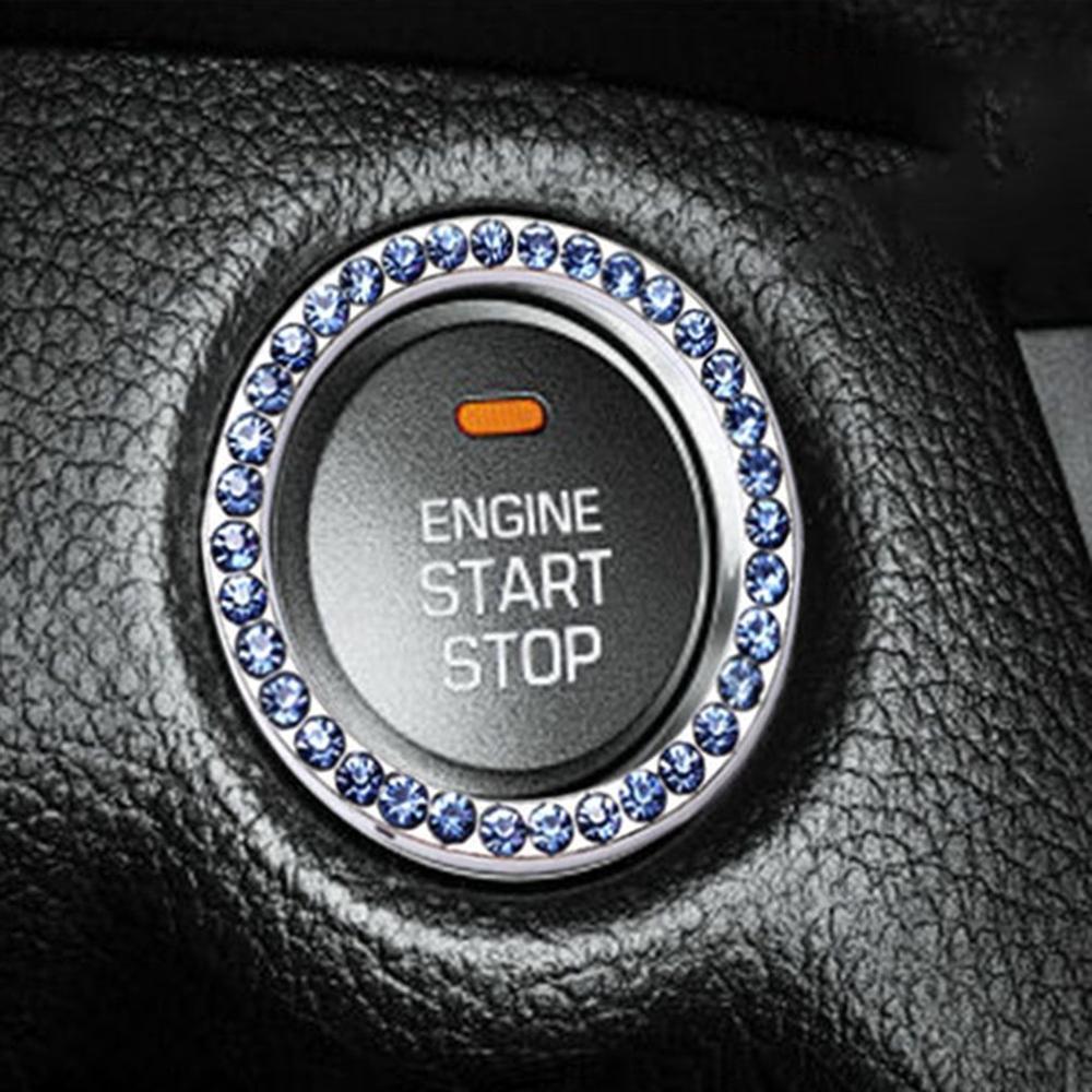 Nueva llave de coche, anillo de arranque de un botón, anillo de arranque de diamante, botón de inicio decorativo, anillo de estrás, pegatina de coche, botón de anillo