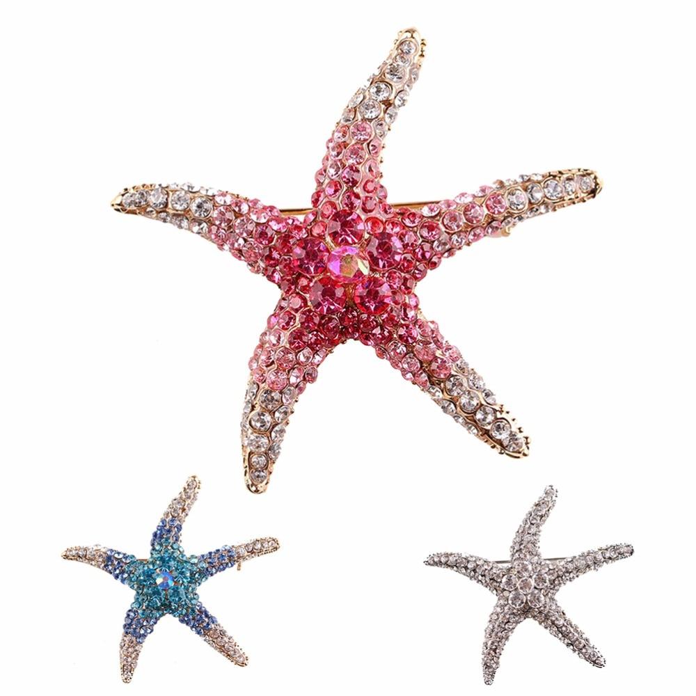 Accesorios chapados en plata antigua joyería verde bufanda alfileres de solapa broche cristal estrellas de mar broches para mujer niña 4 cm * 4 cm