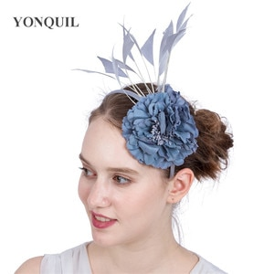 Grey Flower Decor Headband Womens Elegant Headwear Fancy Feathers Hair Accessories Ladies Dinner Headdress Fascinators Hair Band