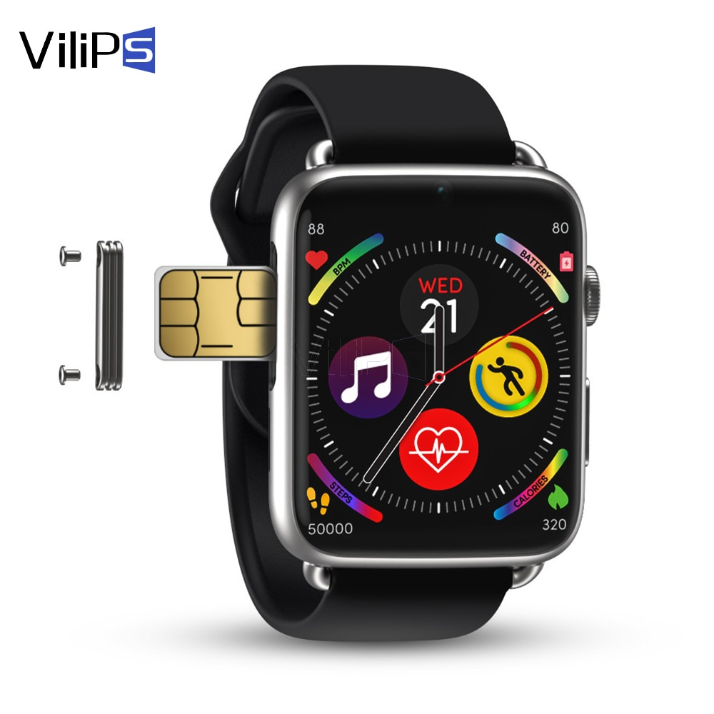 Get Vilips GPS WIFI 4G Smart Watch 3GB 32GB1.88 Inch Touch Screen Heart Rate Android 7.1 smartwatch with Leather strap DM20