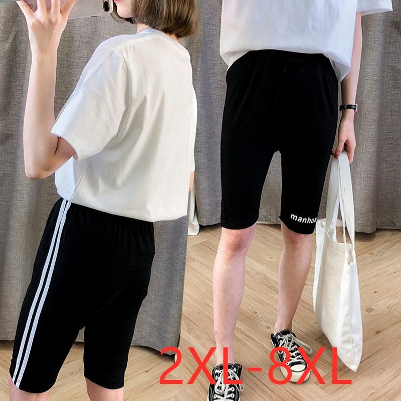 New 2020 summer plus size basic shorts for women large slim casual elastic cotton stripe sports shorts black 4XL 5XL 6XL 7XL 8XL